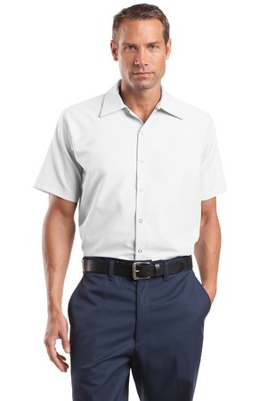 ; CornerStone; Short Sleeve Pocketless Gripper Shirt. CS26