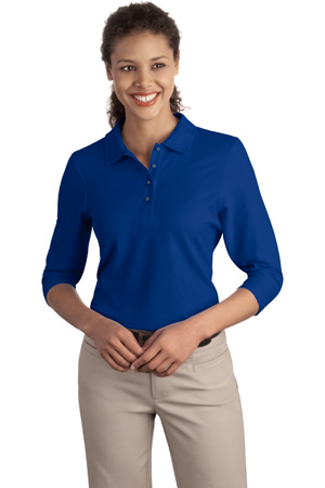 ; Port Authority; Ladies Silk Touch 3/4 Sleeve Polo. L562