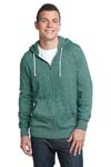 District; Young Mens Marled Fleece Full Zip Hoodie. DT192